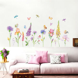 Dragonfly-Flowers-Line-Room-Home-Decor-Removable-Wall-Stickers-Decal-Decoration