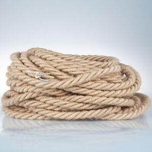 Textilkabel-Stoffkabel-Textilleitung-gedreht-Jute-Seil-ca-16mm-3x0-75mm