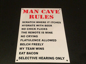 Man Cave Rules : Funny sign man cave rules fathers day present a5 house dad son