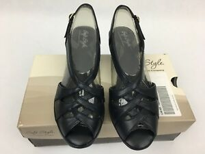 b69c7937b47b Soft Style Hush Puppies Heels Blue Open Toe Strappy Sandals ...