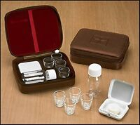 Cross Detail Faux Leather Lined Box 4 Cup Portable Minister Travel Communion Set on Sale