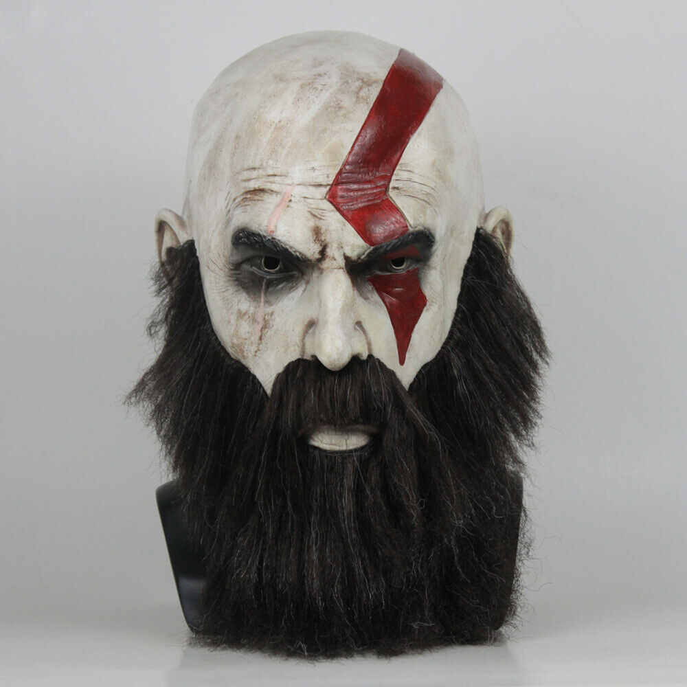 Details About God Of War 4 Kratos Game Mask Halloween Cosplay Costume With Beard Party Props