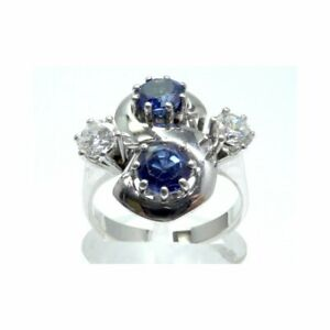 Goldring-Ring-585-GOLD-14-Karat-Weissgold-Brillanten-Diamanten-Saphir-Safir