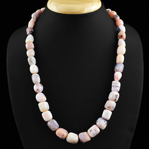 HAND-MADE-374-50-CTS-EARTH-MINED-UNTREATED-PINK-AUSTRALIAN-OPAL-BEADS-NECKLACE