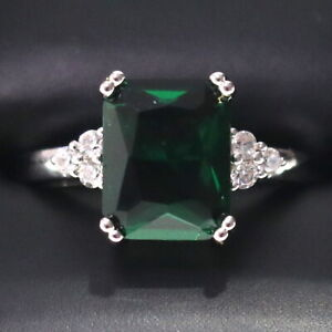 Sparkling-Princess-Green-Emerald-Ring-Women-Anniversary-Jewelry-14K-White-Gold