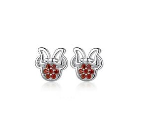 4777d704b Micro-inlay Red CZ 925 Sterling Silver Disney Minnie Mouse Stud ...