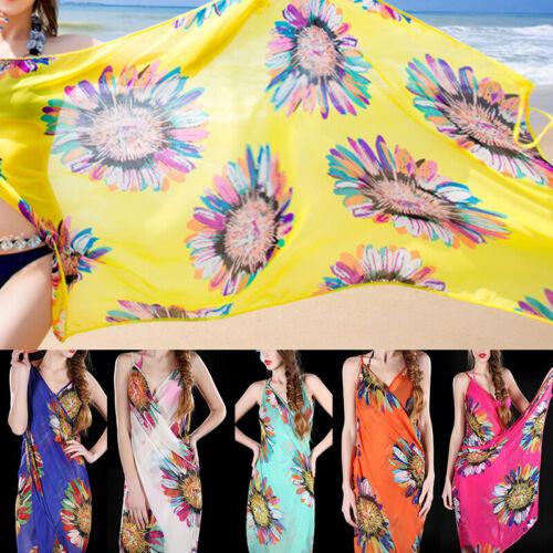 Women Chiffon Wrap Dress Sarong Beach Cover-up Bikini Wrap Skirt Summer One Size