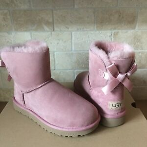 03cbe736995 Details about UGG MINI BAILEY BOW II PINK DAWN WATER-RESISTANT SUEDE BOOTS  SIZE US 6 WOMENS