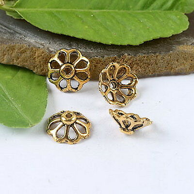 50pcs dark gold-tone crafted flower spacer beads h1293
