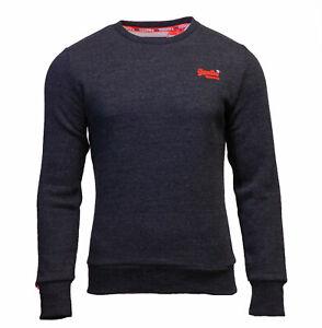 Superdry-Mens-New-Orange-Label-Crew-Neck-Sweatshirt-Overhead-Long-Sleeve-Black
