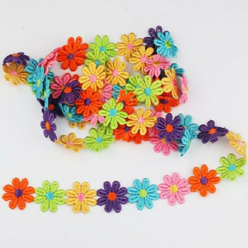 25 mm GALON APPLIQUE Fleur Marguerite Multicolore lot 18 fleurs AD15 48 cm