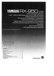 Yamaha Rx A Owners Manual