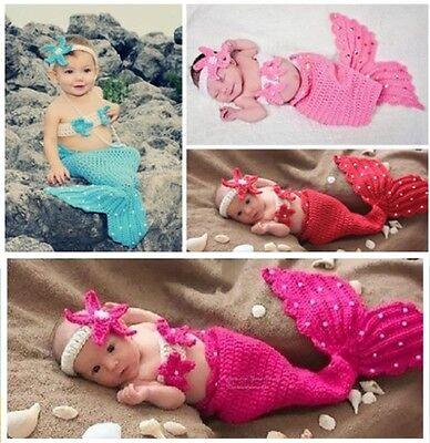 Neugeborene Baby Mädchen Knit Strick Fotoshooting Meerjungfrau Kostüm