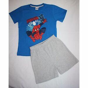 MARVEL-pyjama-pyjashort-pyjacourt-SPIDERMAN-2-3-4-5-ou-6-7-ans-bleu-gris-NEUF