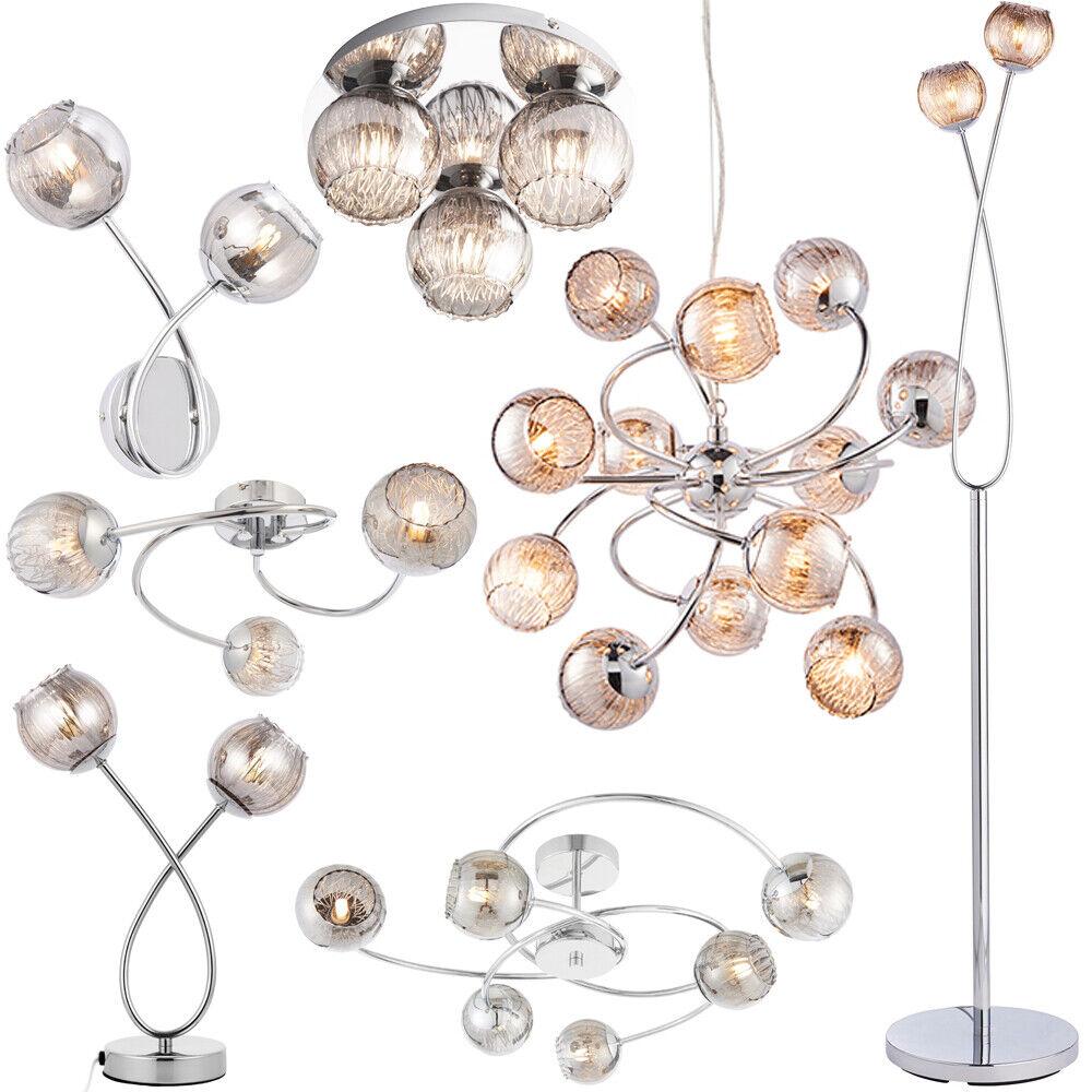 Chrome & Smoked Glass Indoor Lighting – Table & Floor Lamp, Wall Ceiling & Light