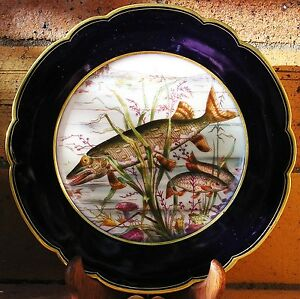 Assiette-en-porcelaine-Vierzon-French-porcelain-dessine-a-la-main-1869-Paris