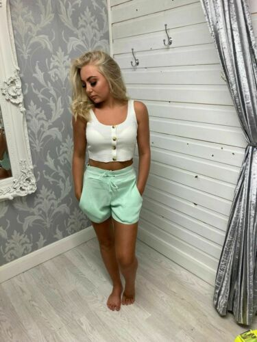 Ladies Crop Oversized Knitted Lounge Suit Women's Co ord Boxy Shorts Bottoms