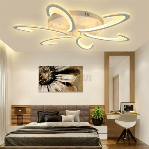 Modern LED Acrylic Ceiling Light Pendant Lamp Chandeliers Bedroom+Remote