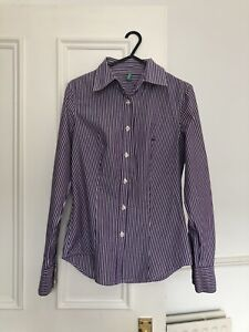Benetton-Purple-Striped-Fitted-Women-s-Cotton-Shirt-UK-Size-6-8