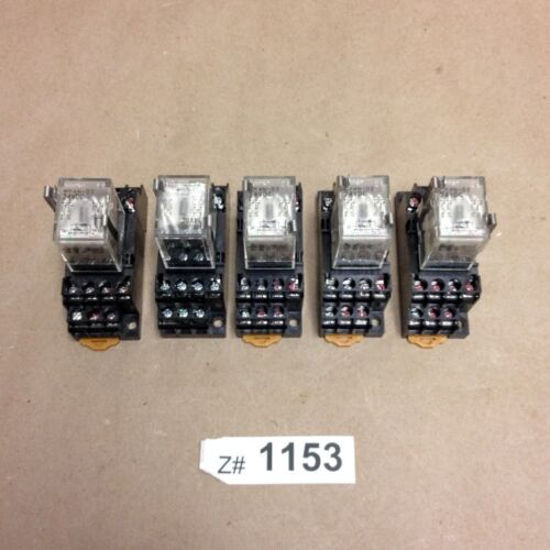 (Lot of 5) Omron MY4N-D2 / 24VDC General Purpose Relays with 2-M4X10 Bases