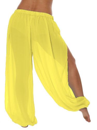 Genie Aladdin Boho Sheer Chiffon Harem Yoga Pants with Side Slit Clearance Sale