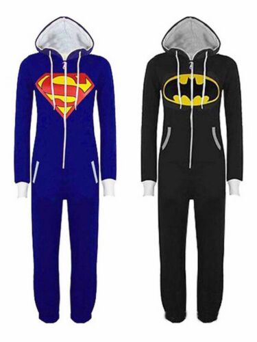 Unisex Womens Mens Super Hero Playsuit Ladies All In One Piece Jumpsuit Pajamas