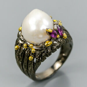 Handmade-SET-Natural-Pearl-925-Sterling-Silver-Ring-Size-7-R102828