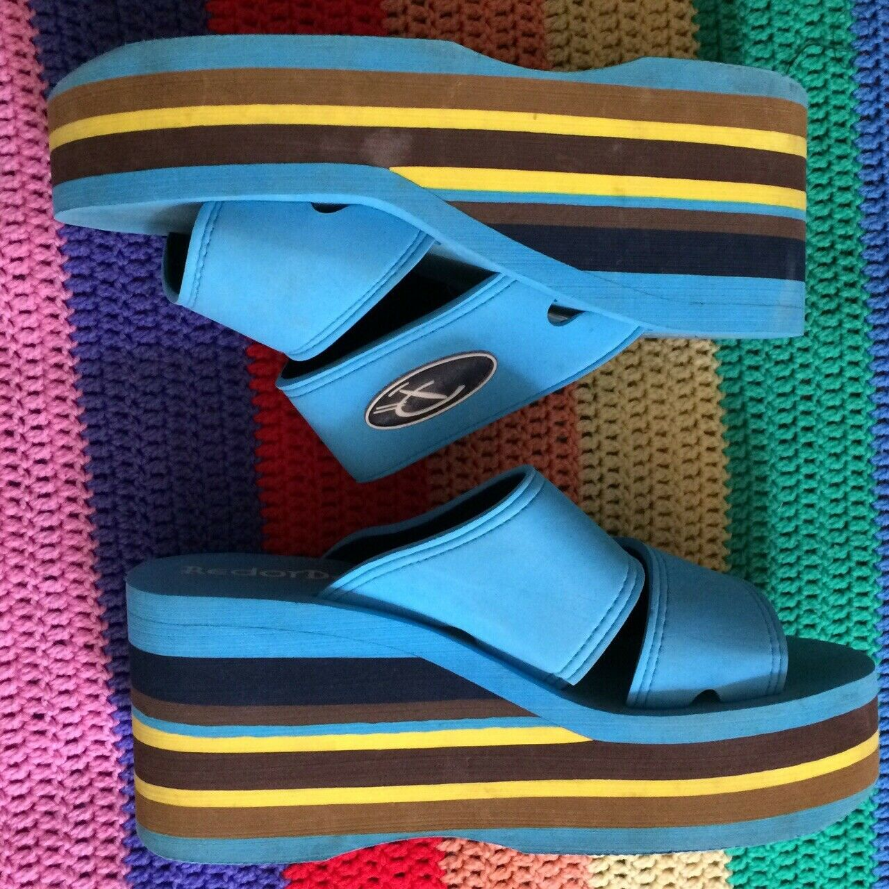 Vintage Red or dead 90's Y2k Pool Slides, 70's Colours, Yellow Brown bluee