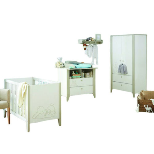 Babyzimmer 4-tlg weiß Wickelkommode Kleiderschrank Babybett Regal GS gepr Kinder