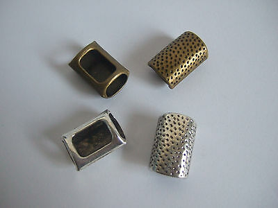 10Pcs Antiqued Silver,Bronze Dotted Slider Spacer Bead For Licorice Leather Cord
