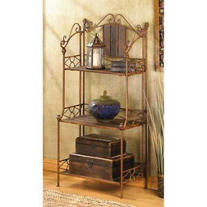 Bronze Metal Brown Wood 3 Shelf Folding Plant Stand Bakers