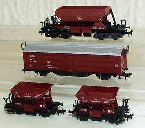 4x-Gueterwagen-Roco-Schiebewandwagen-Roco-u-Trix-Selbstentladewagen-Spur-N