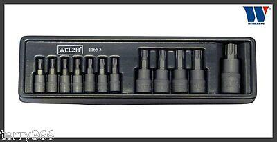 T70 Welzh 1165-1-WW 1//2 drive 15 piece sizes T6 Torx socket set 1//4 3//8