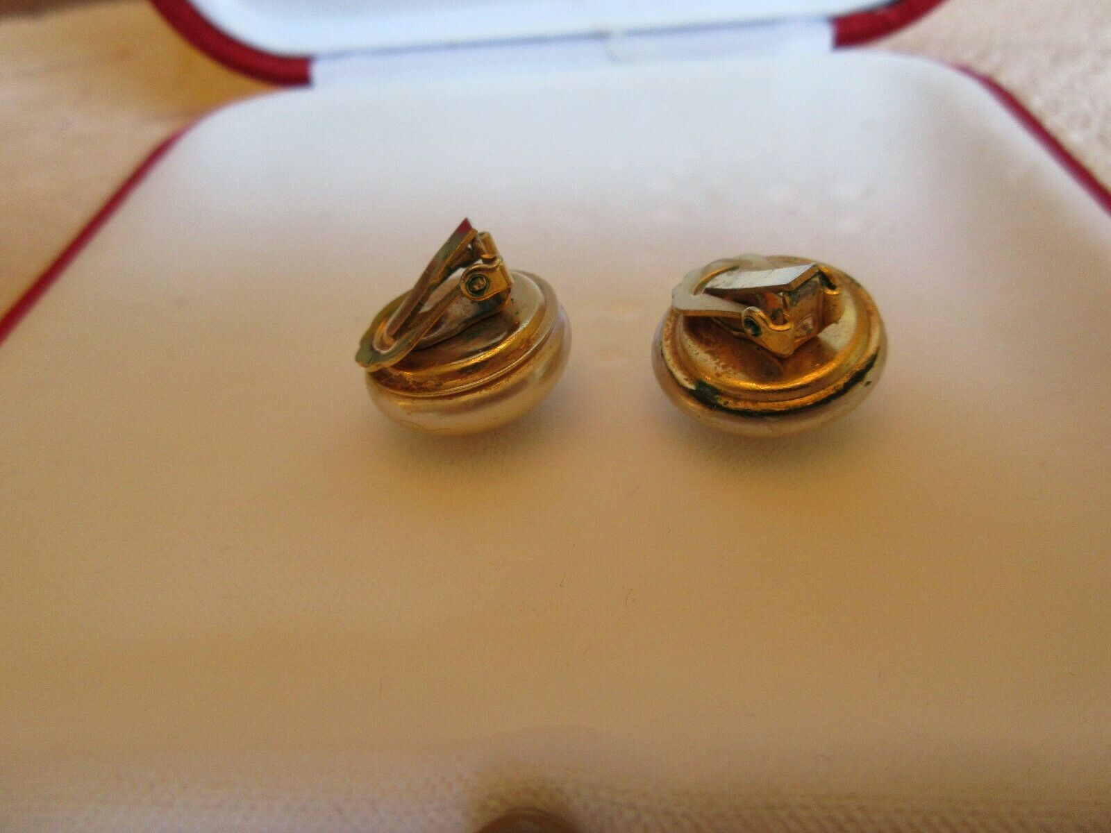 Faux Pearl Earrings , Clip On , Vintage 83355038003