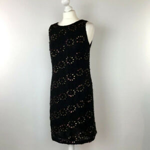 Monsoon-Floral-Dress-UK-Size-12-Black-Shift-Womens-Beading-and-Sequins