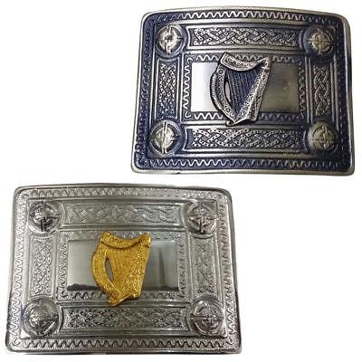 ST Scottish Kilt Belt Buckle Celtic Irish Harp Chrome /& Gold//Highland Buckles