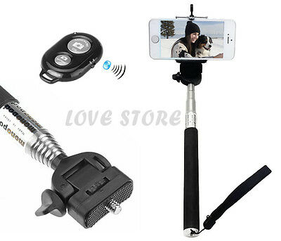 OZ for iPhone 5 5S 4 4S 3GS 6S Unipod Bluetooth Shutter Selfie Extendable Stick