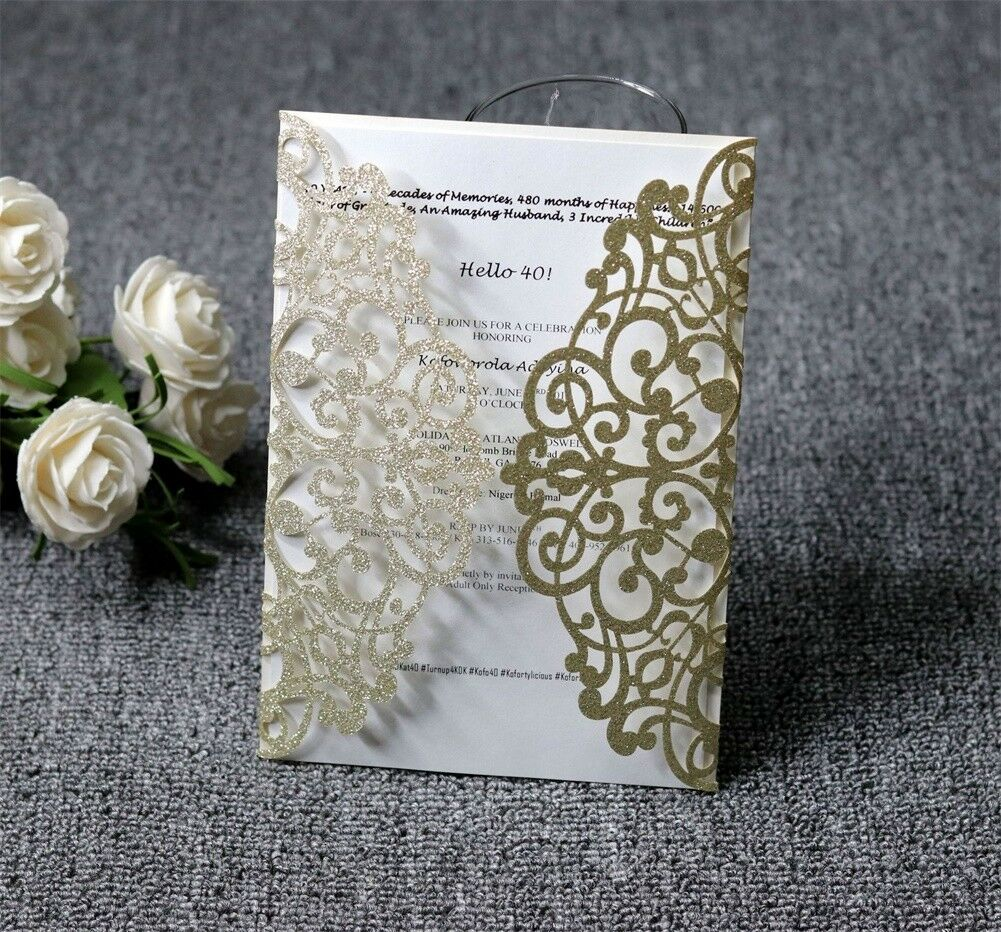 Wishmade 50pcs Laser Cut Wedding Invitation Card With Gold 3D Butterfly  Pocket for sale online | eBay