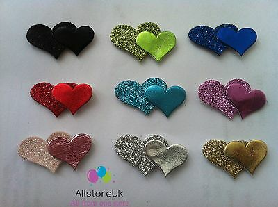 12 x Self Adhesive Stick on Glitter Double Hearts Card Craft Wedding Invitations