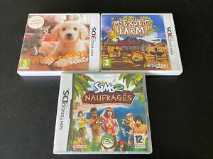 MY EXOTIC FARM + NINTENDOGS CATS + LES SIMS 2 LOT DE 3 JEUX NINTENDO DS 3DS FR