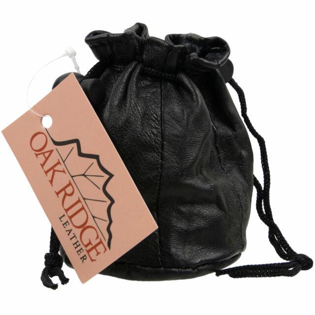 Black LEATHER DRAWSTRING WRIST POUCH money change coin holder bag ladies gents
