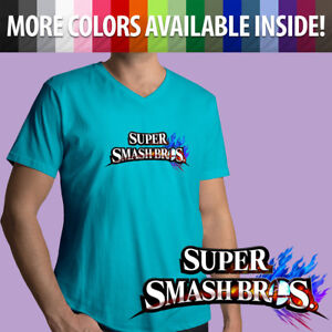 Tee V-Neck T-Shirt Printed Super Smash Bros Symbol Title Fighting