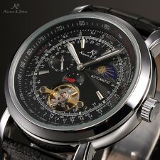 Mens Silver Case Automatic Mechanical Leather Skeleton Sport Analog Wrist Watch