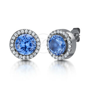 Mujer-Pendientes-Titanio-Azul-Tacha-CZ-pendientes