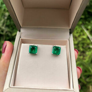 2.00 Ct Princess Cut Emerald /& Round Diamond Stud Earrings 14k Yellow Gold Over