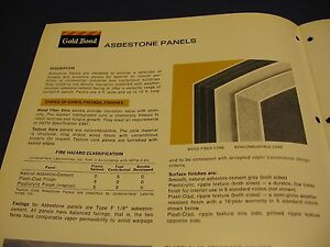 Details about GOLD BOND 1972 Catalog ASBESTOS Wall Systems Asbestone Panels