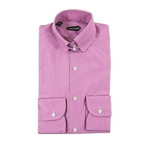 NWT-Tom-Ford-Pink-Cotton-End-on-End-Buttoned-Tab-Collar-Dress-Shirt-39EU-15-5US