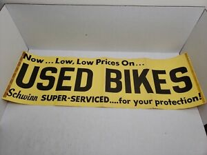 Rare-Vintage-1950-039-s-Schwinn-Bicycles-Used-Bikes-Shop-Store-Banner-Sign-Poster