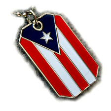 """PUERTO RICO FLAG PENDANT NECKLACE PR HERITAGE DOG-TAG BALL CHAIN NICKEL FREE 28"""""""