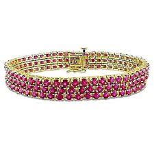 Natural Mozambique Ruby cluster Tennis Bracelet 14K Y. Gold over Sterling Silver